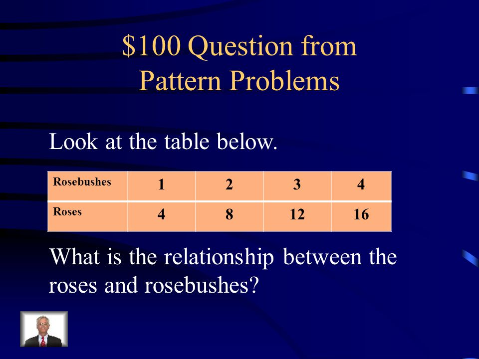 $500 Answer from Patterns in Tables 7 bouquets