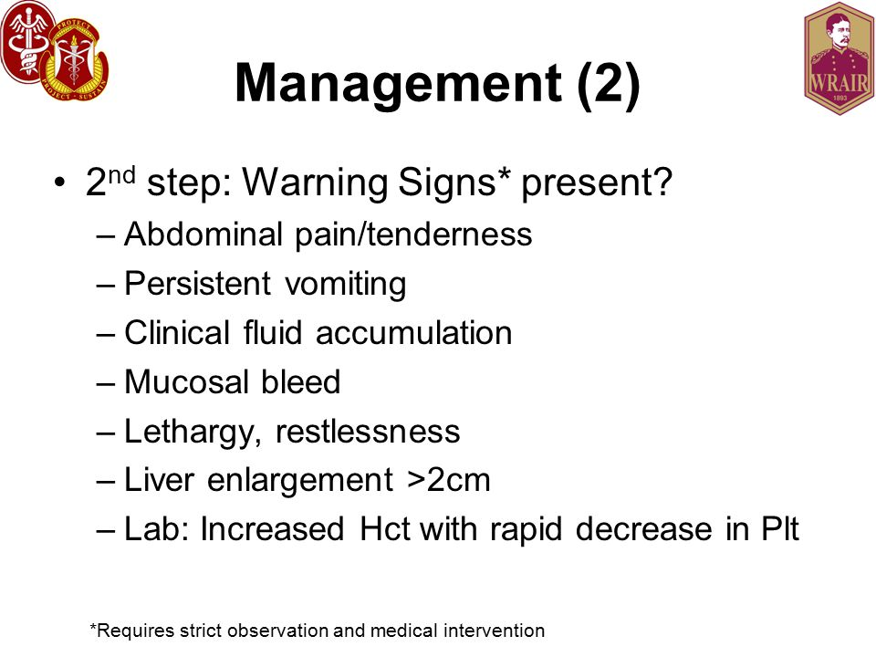 Management (2) 2 nd step: Warning Signs* present.