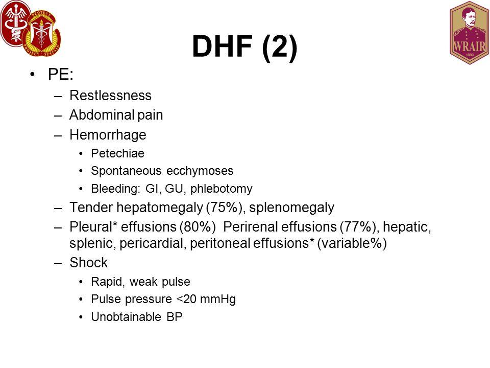 DHF (2) PE: –Restlessness –Abdominal pain –Hemorrhage Petechiae Spontaneous ecchymoses Bleeding: GI, GU, phlebotomy –Tender hepatomegaly (75%), splenomegaly –Pleural* effusions (80%) Perirenal effusions (77%), hepatic, splenic, pericardial, peritoneal effusions* (variable%) –Shock Rapid, weak pulse Pulse pressure <20 mmHg Unobtainable BP