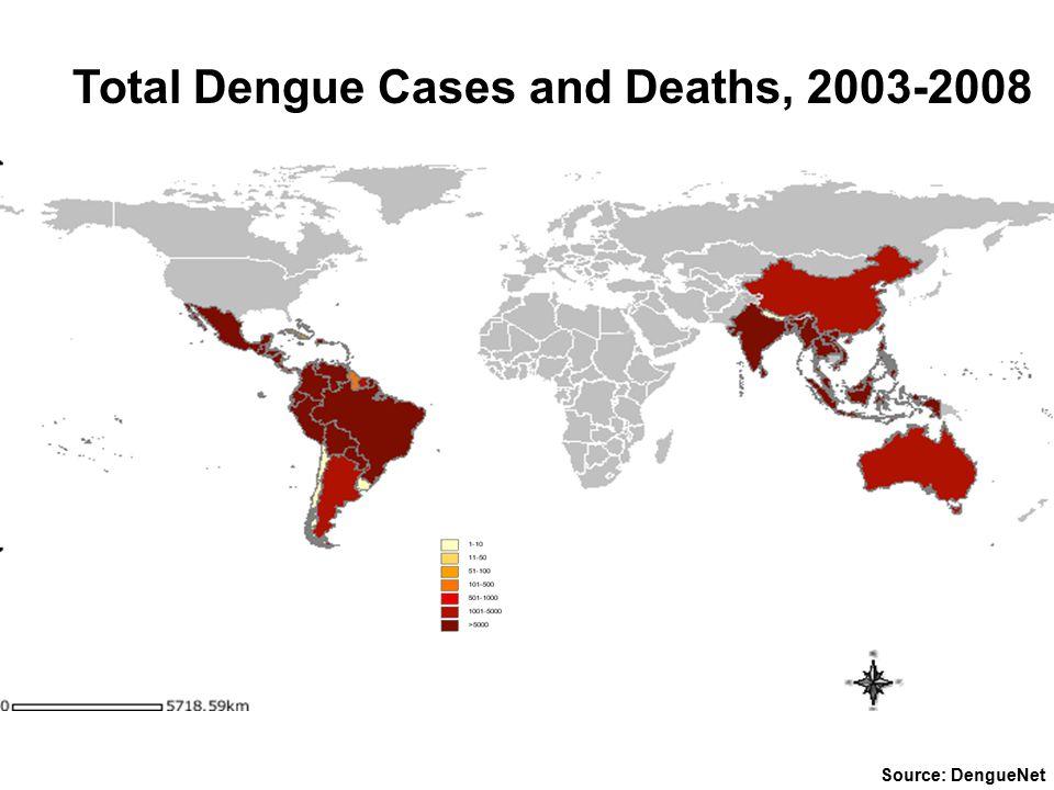 Source: DengueNet Total Dengue Cases and Deaths, 2003-2008