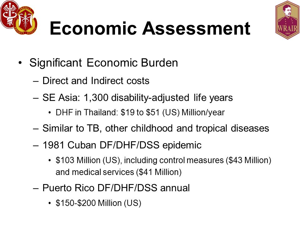 Economic Assessment Significant Economic Burden –Direct and Indirect costs –SE Asia: 1,300 disability-adjusted life years DHF in Thailand: $19 to $51 (US) Million/year –Similar to TB, other childhood and tropical diseases –1981 Cuban DF/DHF/DSS epidemic $103 Million (US), including control measures ($43 Million) and medical services ($41 Million) –Puerto Rico DF/DHF/DSS annual $150-$200 Million (US)