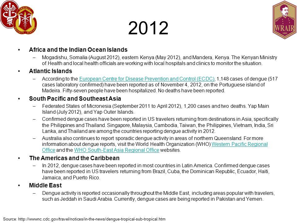 2012 Africa and the Indian Ocean Islands –Mogadishu, Somalia (August 2012), eastern Kenya (May 2012), and Mandera, Kenya.