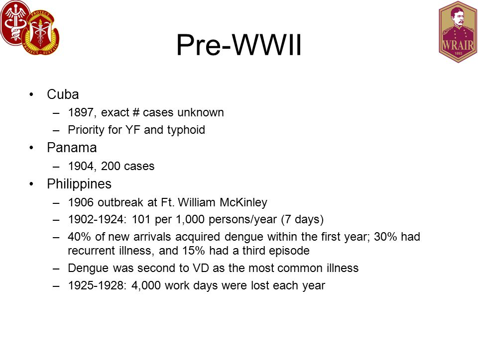 Pre-WWII Cuba –1897, exact # cases unknown –Priority for YF and typhoid Panama –1904, 200 cases Philippines –1906 outbreak at Ft.