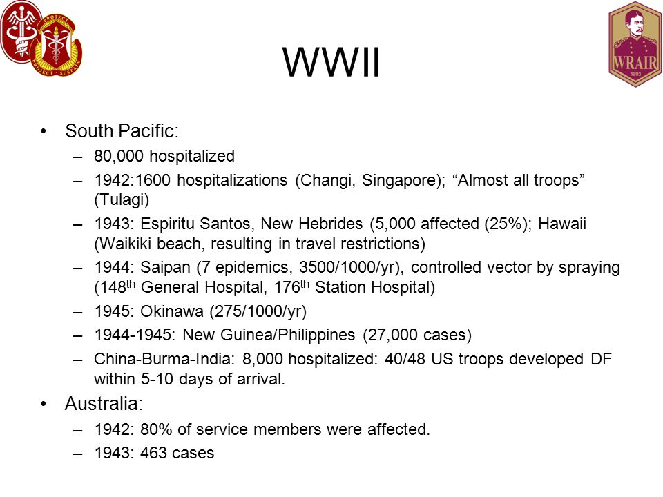 WWII South Pacific: –80,000 hospitalized –1942:1600 hospitalizations (Changi, Singapore); Almost all troops (Tulagi) –1943: Espiritu Santos, New Hebrides (5,000 affected (25%); Hawaii (Waikiki beach, resulting in travel restrictions) –1944: Saipan (7 epidemics, 3500/1000/yr), controlled vector by spraying (148 th General Hospital, 176 th Station Hospital) –1945: Okinawa (275/1000/yr) –1944-1945: New Guinea/Philippines (27,000 cases) –China-Burma-India: 8,000 hospitalized: 40/48 US troops developed DF within 5-10 days of arrival.