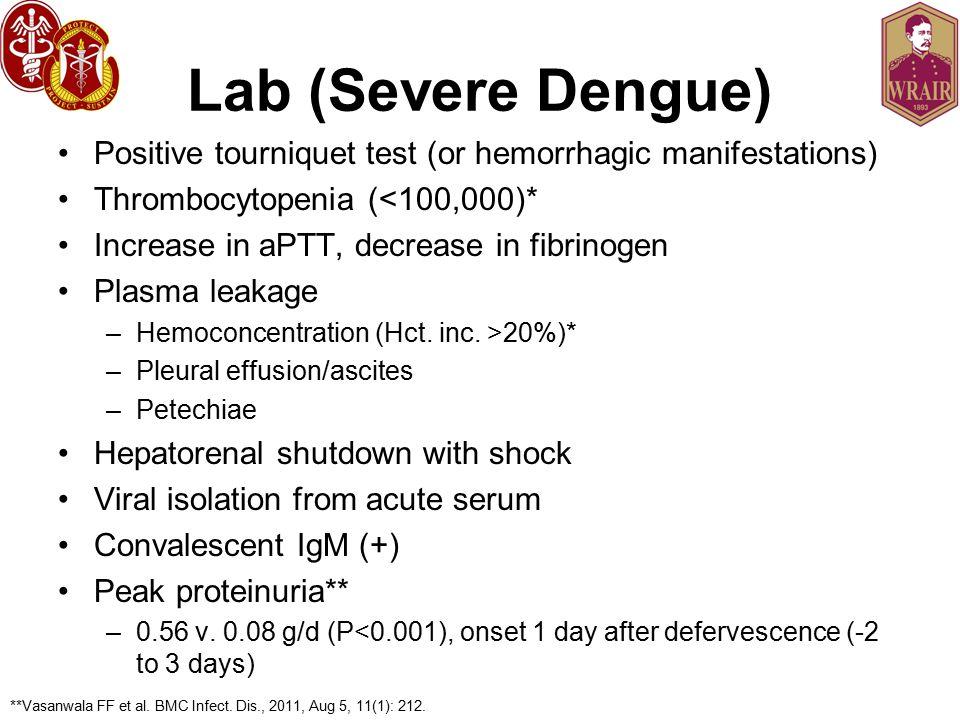 Lab (Severe Dengue) Positive tourniquet test (or hemorrhagic manifestations) Thrombocytopenia (<100,000)* Increase in aPTT, decrease in fibrinogen Plasma leakage –Hemoconcentration (Hct.
