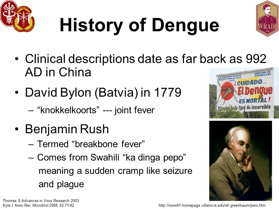 History of Dengue Clinical descriptions date as far back as 992 AD in China David Bylon (Batvia) in 1779 – knokkelkoorts --- joint fever Benjamin Rush –Termed breakbone fever –Comes from Swahili ka dinga pepo meaning a sudden cramp like seizure and plague Thomas S Advances in Virus Research 2003.