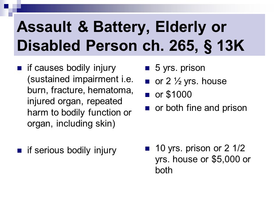 Assault & Battery, Elderly or Disabled Person ch.