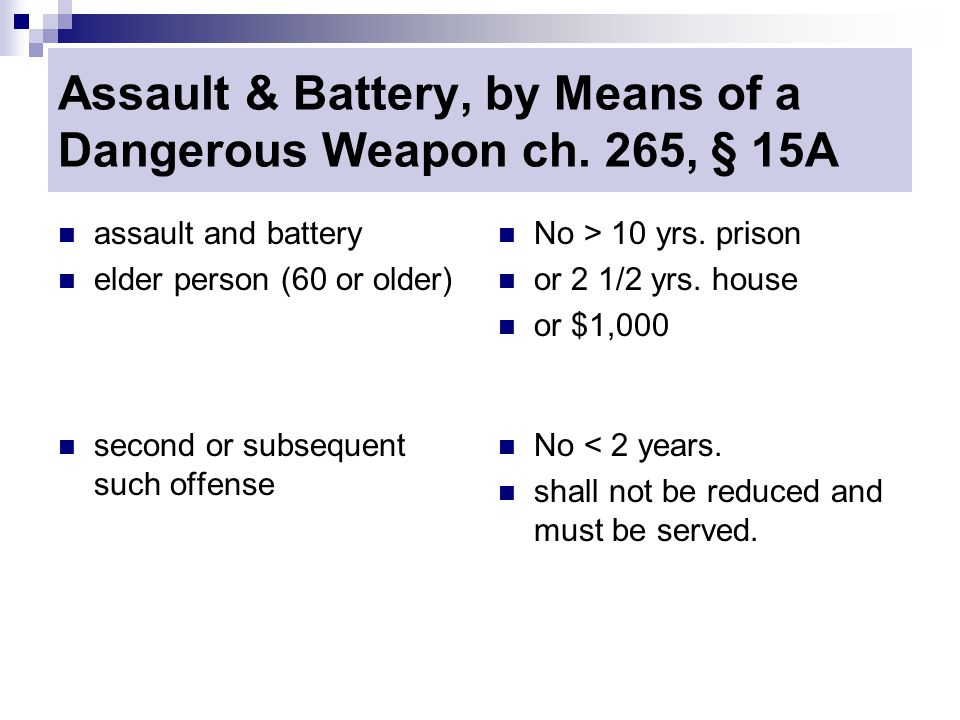Assault & Battery, by Means of a Dangerous Weapon ch.