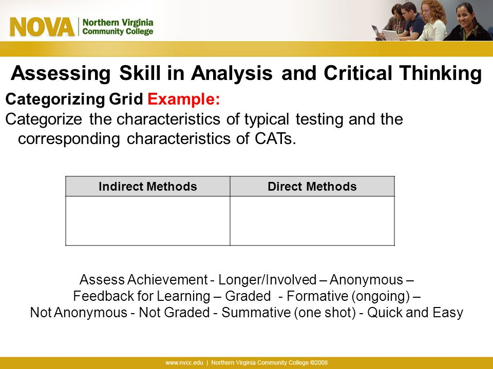 Assessing Skill in Analysis and Critical Thinking Categorizing Grid Example: Categorize the characteristics of typical testing and the corresponding c