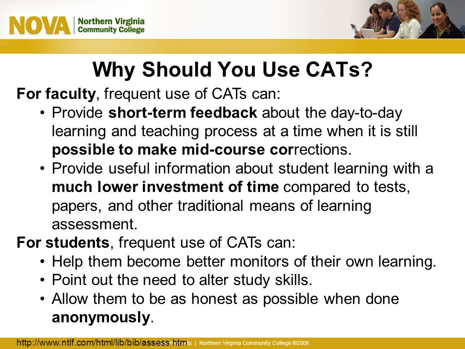 Questions to Ask Yourself What do you want to learn by using a CAT.