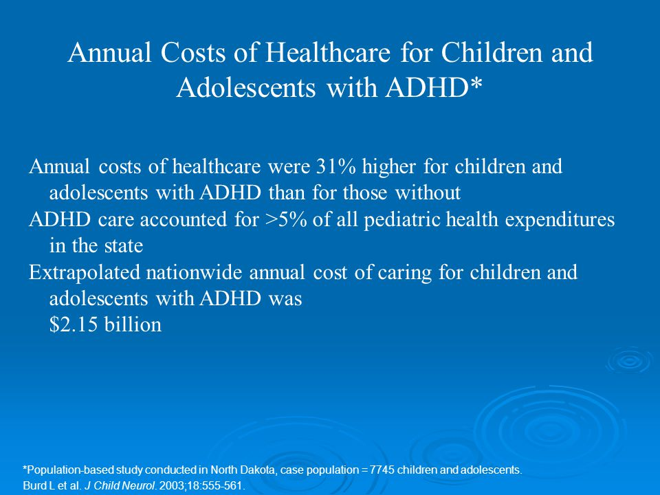 Annual costs of healthcare were 31% higher for children and adolescents with ADHD than for those without ADHD care accounted for >5% of all pediatric health expenditures in the state Extrapolated nationwide annual cost of caring for children and adolescents with ADHD was $2.15 billion *Population-based study conducted in North Dakota, case population = 7745 children and adolescents.