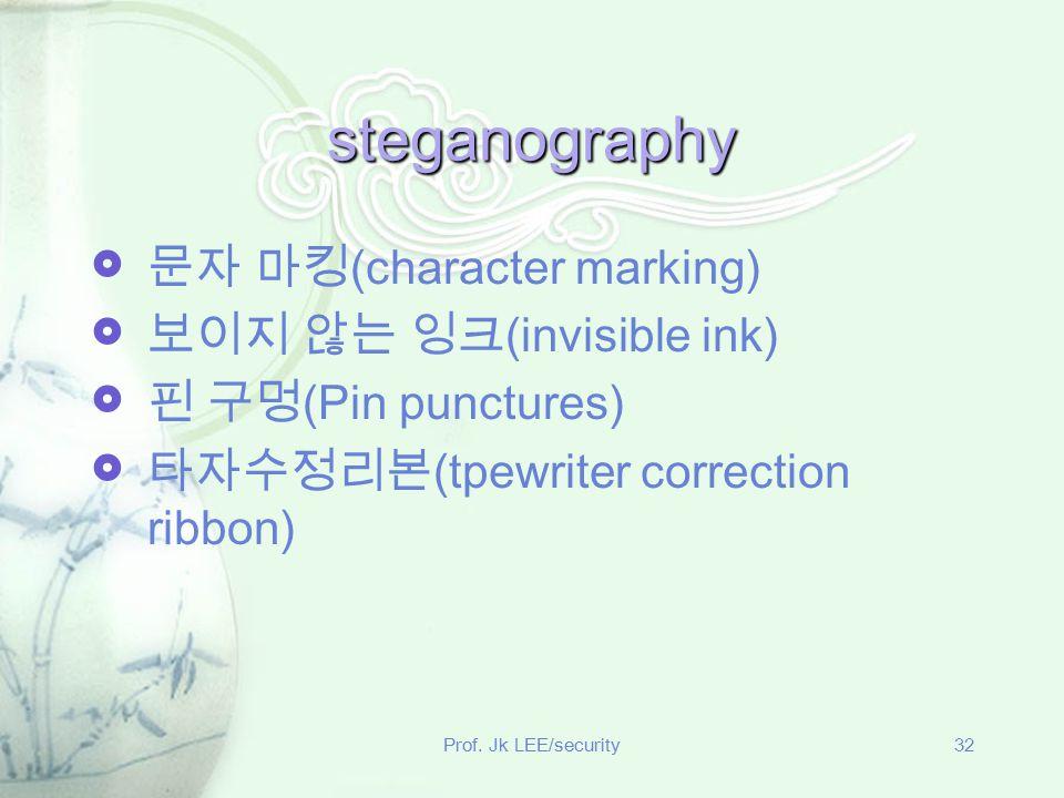 Prof. Jk LEE/security32 steganography  문자 마킹 (character marking)  보이지 않는 잉크 (invisible ink)  핀 구멍 (Pin punctures)  타자수정리본 (tpewriter correction ri