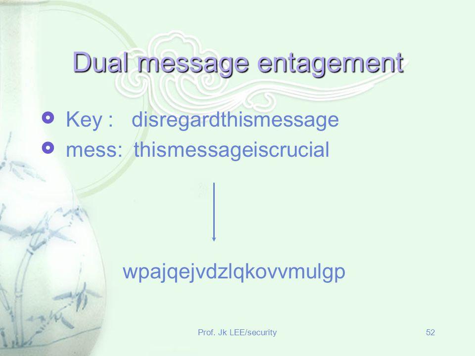 Prof. Jk LEE/security52 Dual message entagement  Key : disregardthismessage  mess: thismessageiscrucial wpajqejvdzlqkovvmulgp
