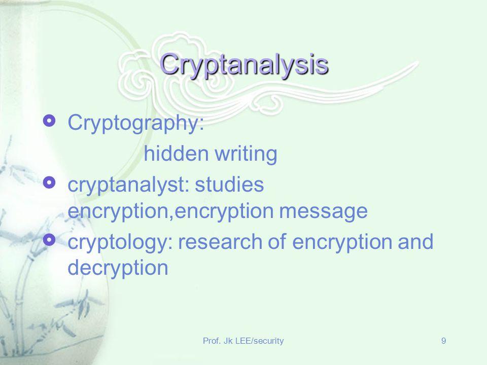 Prof. Jk LEE/security9 Cryptanalysis  Cryptography: hidden writing  cryptanalyst: studies encryption,encryption message  cryptology: research of en