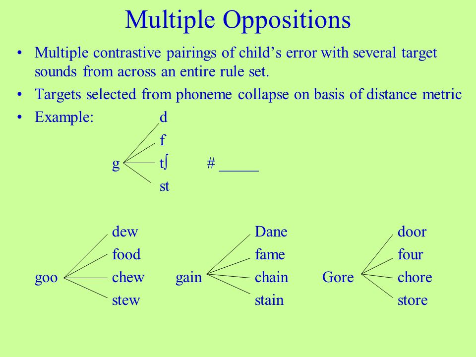 Multiple Oppositions Multiple contrastive pairings of child's error with several target sounds from across an entire rule set.