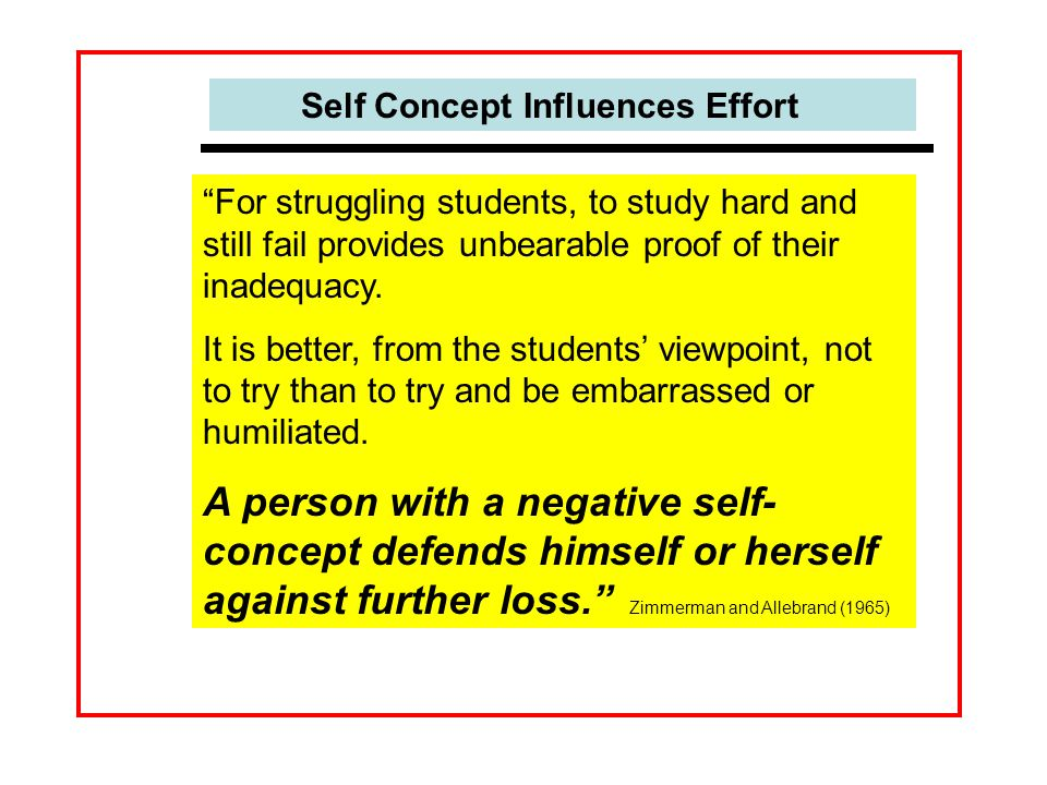 Self Concept Influences Effort For struggling students, to study hard and still fail provides unbearable proof of their inadequacy.