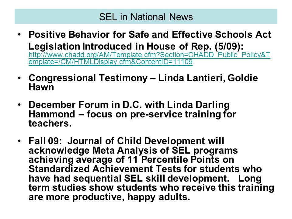 SEL in National News Positive Behavior for Safe and Effective Schools Act Legislation Introduced in House of Rep.
