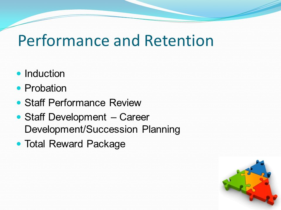 Performance and Retention Induction Probation Staff Performance Review Staff Development – Career Development/Succession Planning Total Reward Package