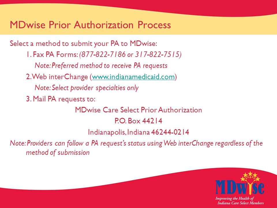 MDwise Prior Authorization Process Select a method to submit your PA to MDwise: 1.