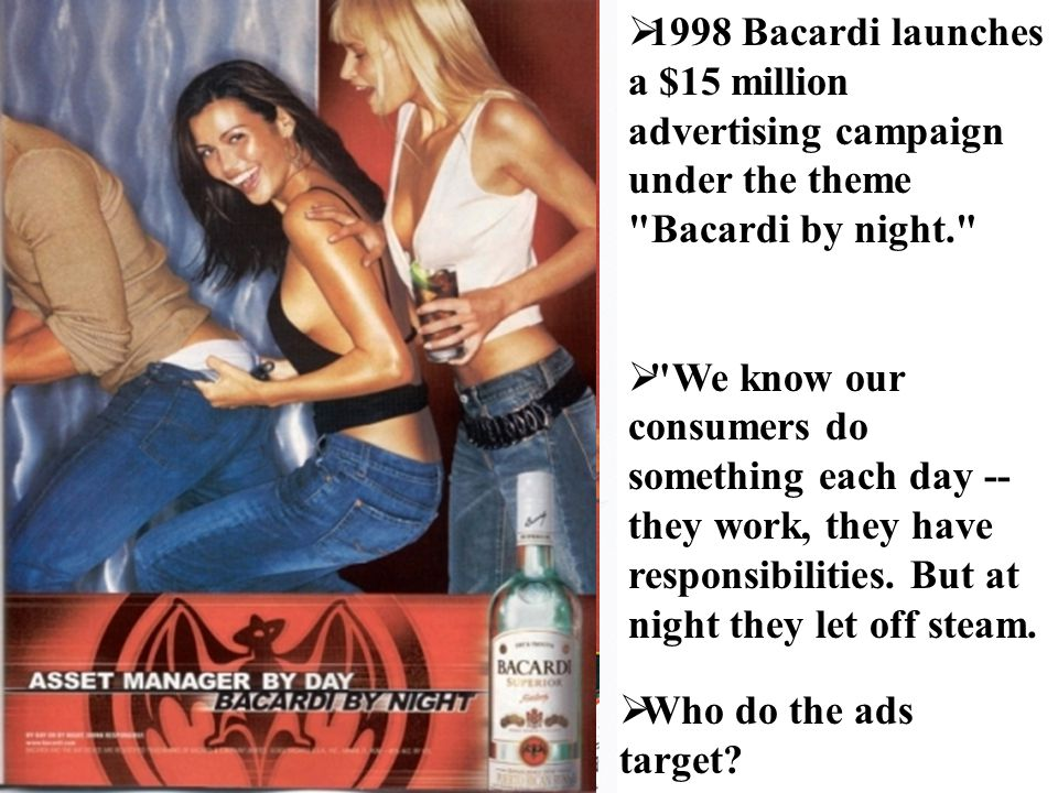 1998 Bacardi launches a $15 million advertising campaign under the theme Bacardi by night.  We know our consumers do something each day -- they work, they have responsibilities.