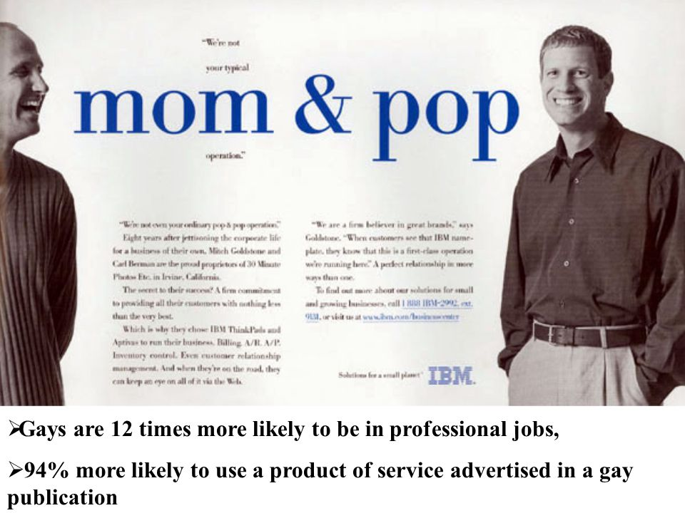 Gays are 12 times more likely to be in professional jobs,  94% more likely to use a product of service advertised in a gay publication