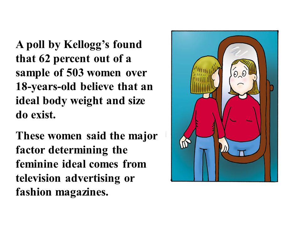 A poll by Kellogg's found that 62 percent out of a sample of 503 women over 18-years-old believe that an ideal body weight and size do exist.
