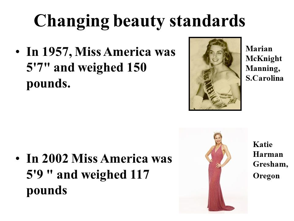 In 1957, Miss America was 5 7 and weighed 150 pounds.