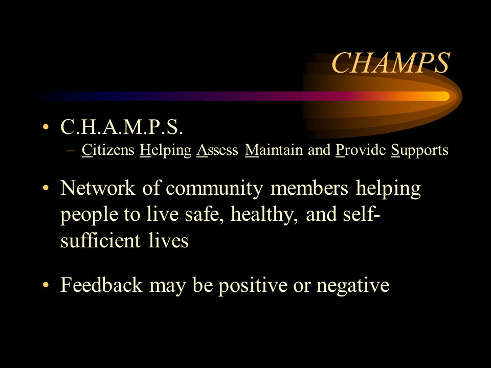 CHAMPS C.H.A.M.P.S. –Citizens Helping Assess Maintain and Provide Supports Network of community members helping people to live safe, healthy, and self