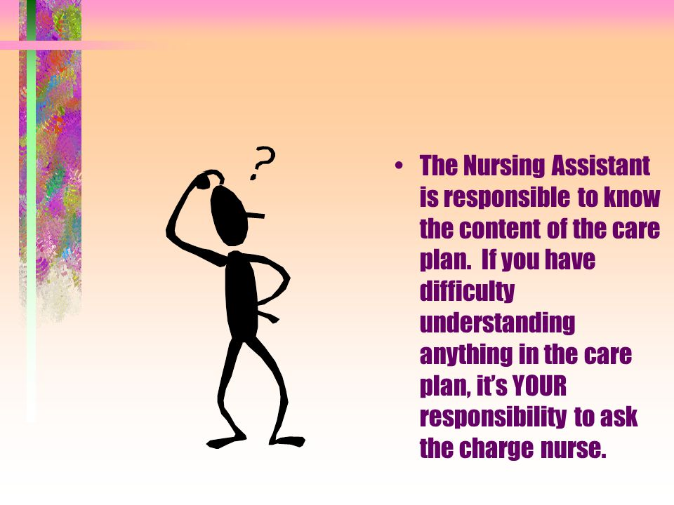 Describe the purpose of Resident care Plans The Care Plan: –Is a written plan designed for each resident –Is developed in a care conference where the