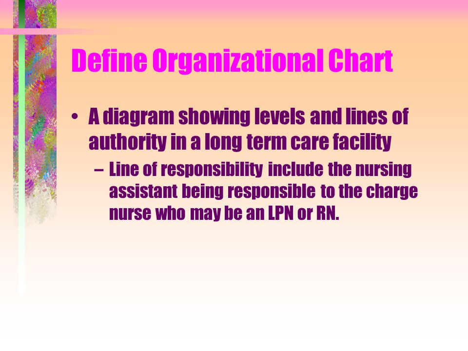 Define Organizational Chart A diagram showing levels and lines of authority in a long term care facility –Line of responsibility include the nursing assistant being responsible to the charge nurse who may be an LPN or RN.