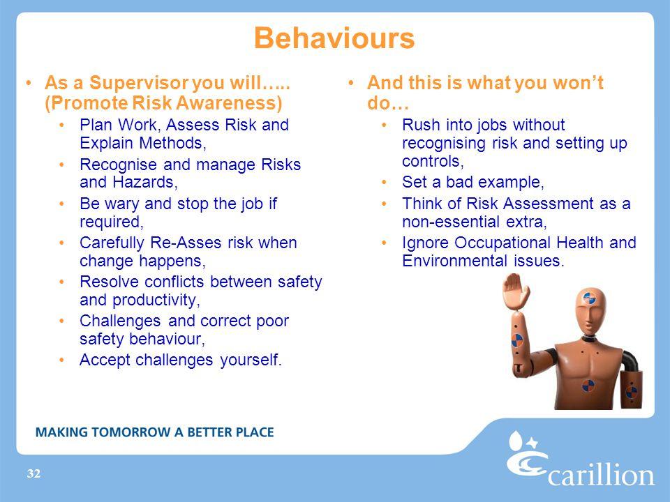 32 Behaviours As a Supervisor you will…..