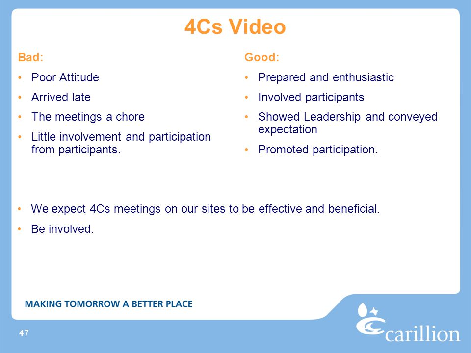 47 4Cs Video Bad: Poor Attitude Arrived late The meetings a chore Little involvement and participation from participants.
