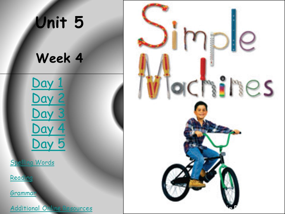 HOME Simple Machines Unit 5 Week 4 Spelling Words Reading Grammar Additional Online Resources Created by Connie Rosenbalm Day 1 Day 2 Day 3 Day 4 Day 5