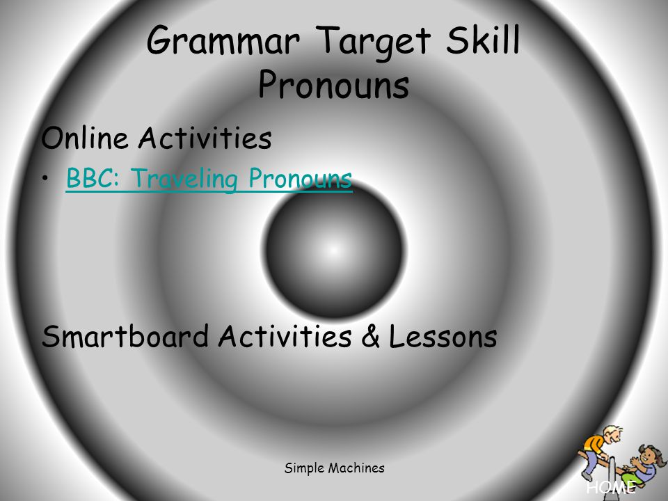 HOME Simple Machines Grammar Target Skill Pronouns Online Activities BBC: Traveling Pronouns Smartboard Activities & Lessons