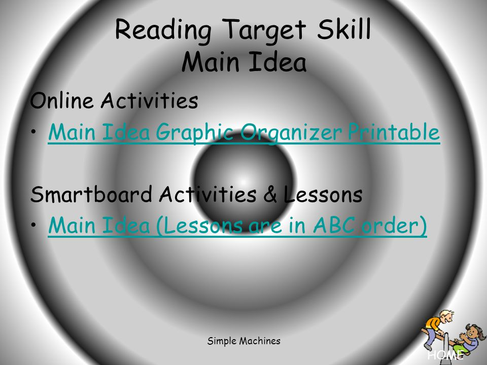 HOME Simple Machines Reading Target Skill Main Idea Online Activities Main Idea Graphic Organizer Printable Smartboard Activities & Lessons Main Idea (Lessons are in ABC order)