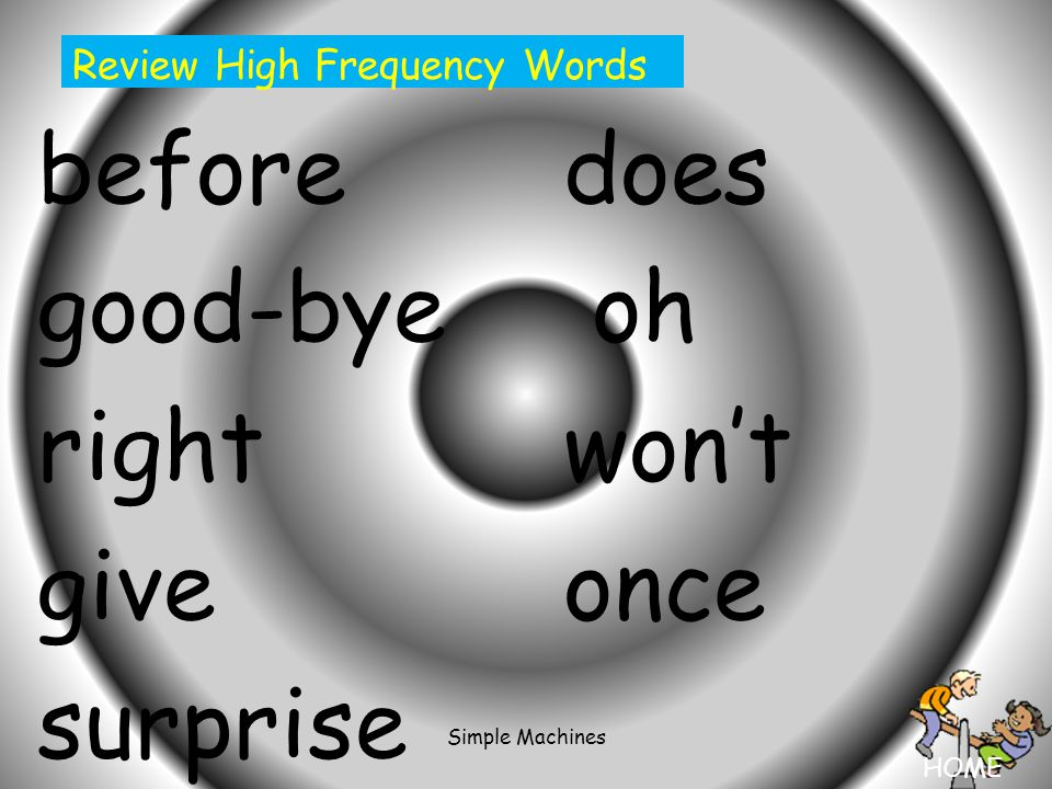 HOME Simple Machines beforedoes good-bye oh rightwon't giveonce surprise Review High Frequency Words
