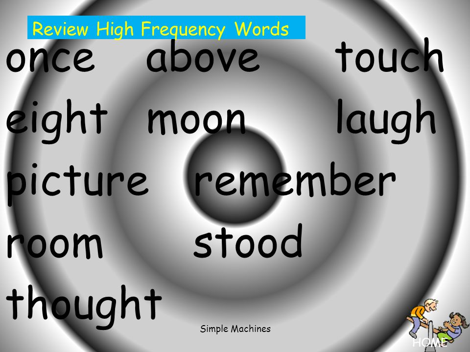 HOME Simple Machines onceabovetouch eightmoonlaugh pictureremember roomstood thought Review High Frequency Words