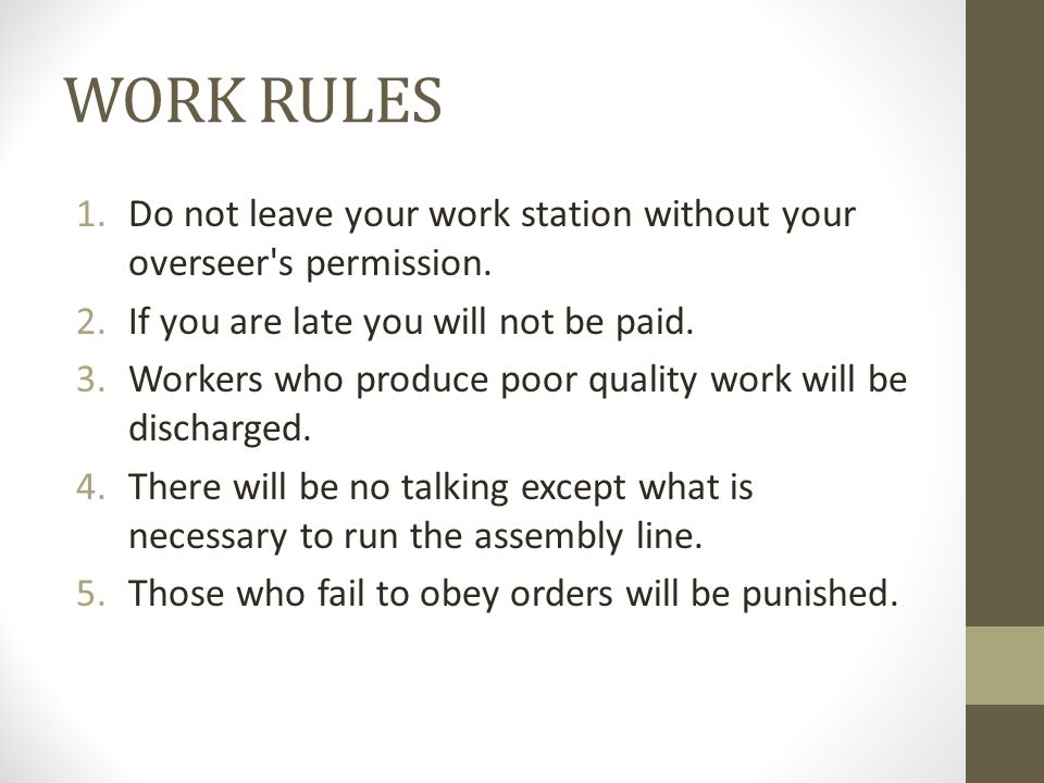Now… You will be counted off by 6- you will be workers Everyone else- you will be the observers/workers on hand.