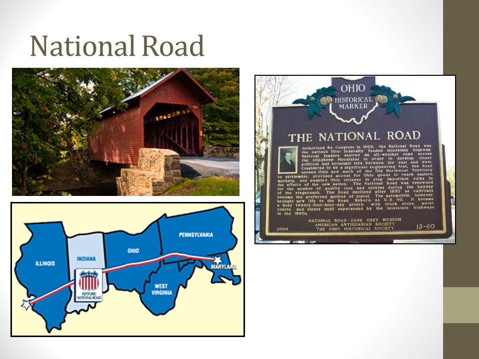 "First Road in US to become 'Macadamized' Construction began in 1811 and ended in 1838. Also known as the ""National Road"" Mile marker in Columbus, Ohio"