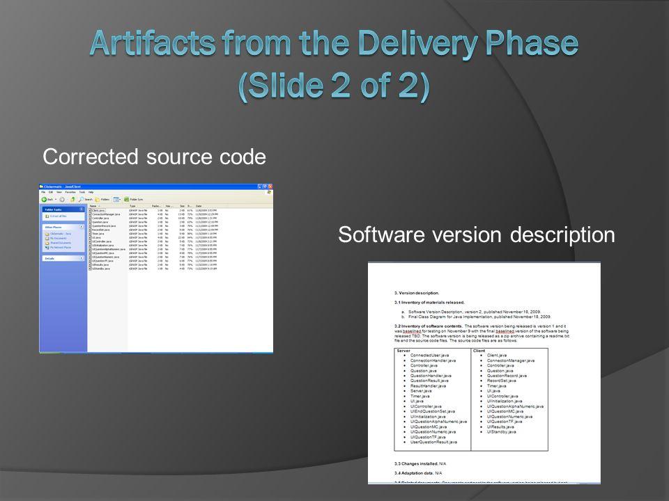 Software version description Corrected source code