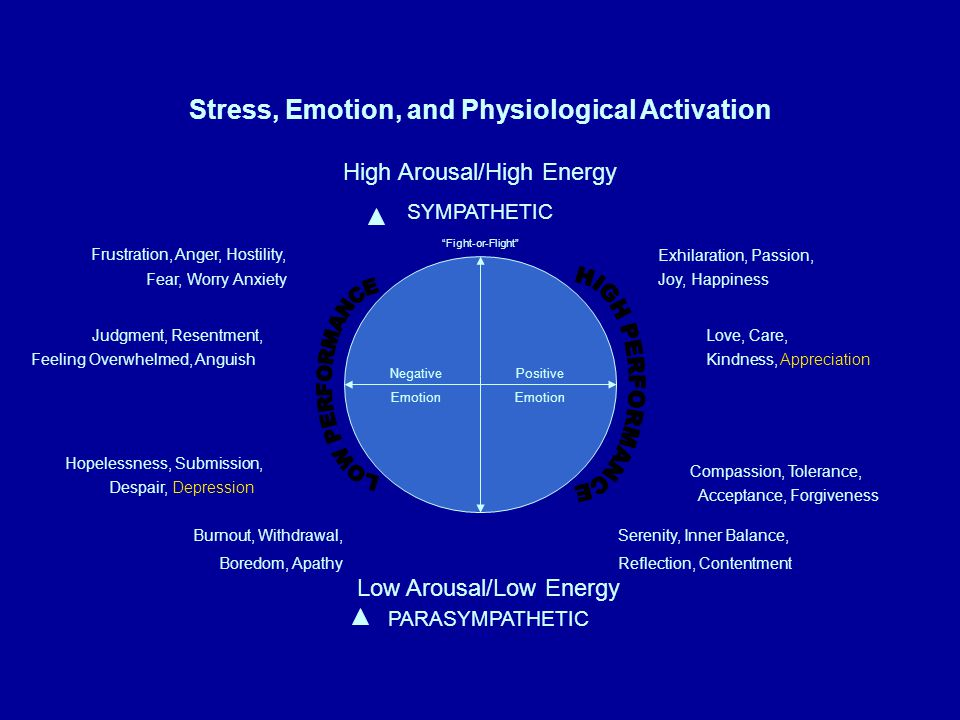 Stress, Emotion, and Physiological Activation High Arousal/High Energy SYMPATHETIC PARASYMPATHETIC Low Arousal/Low Energy Negative Emotion Positive Em