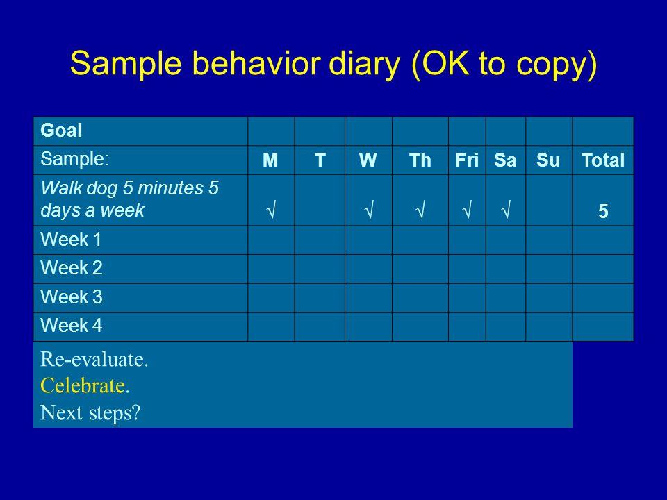 Sample behavior diary (OK to copy) Goal Sample: MTWThFriSaSuTotal Walk dog 5 minutes 5 days a week √ √√√√ 5 Week 1 Week 2 Week 3 Week 4 Re-evaluate.