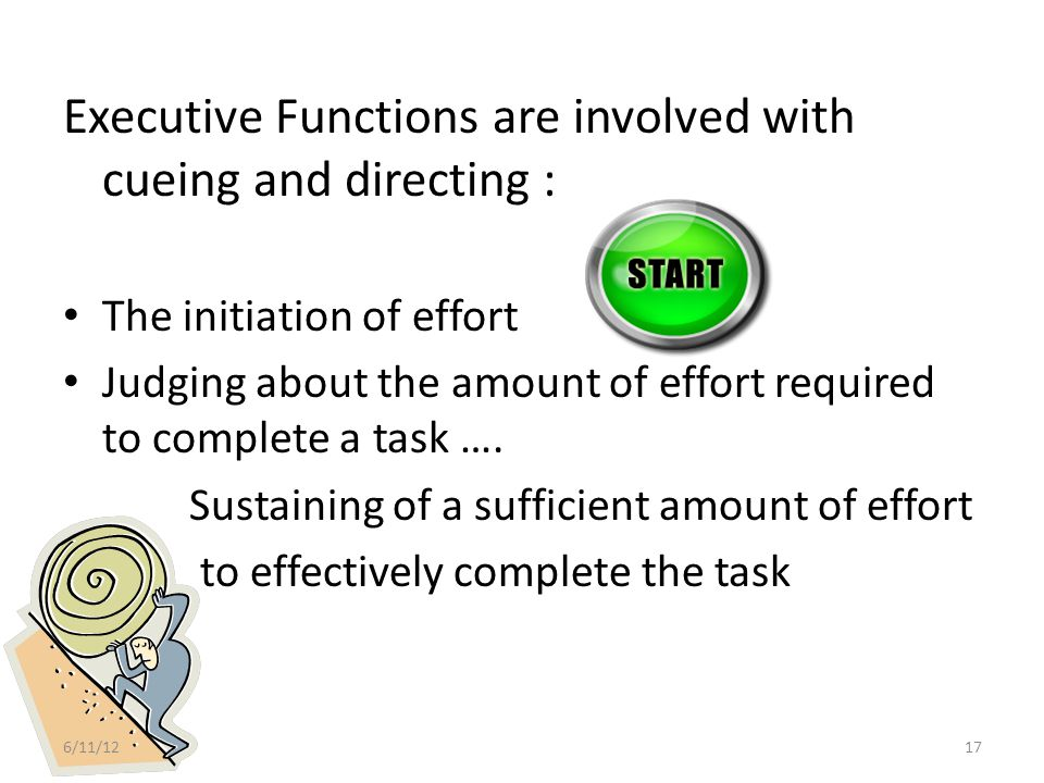 Executive Functions Shifts cognitive resources to focus on new demands, new conditions or new information Directs the efficient use of pattern and detail processing : – Knowing when to focus on the big picture , when to concentrate on the details, and when to switch between the two).
