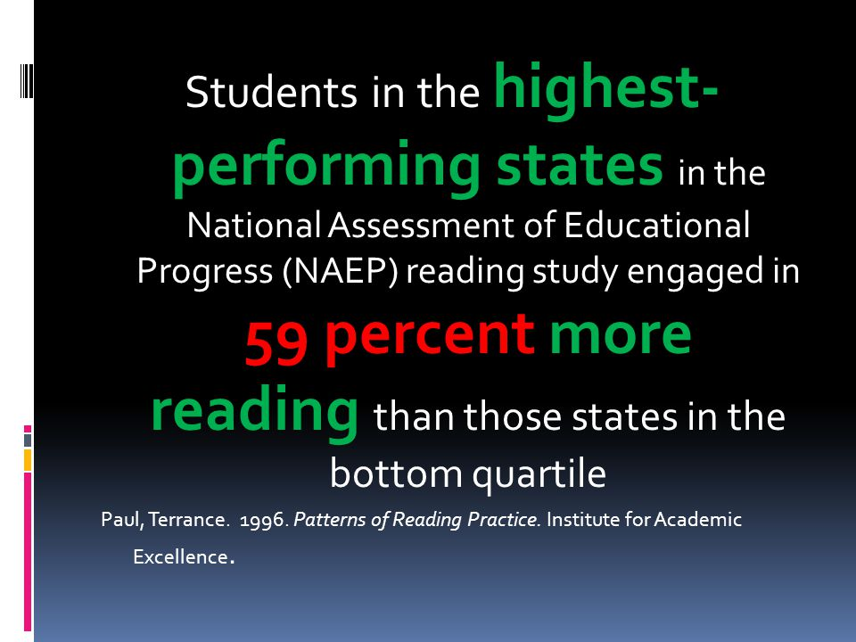 Students in the highest- performing states in the National Assessment of Educational Progress (NAEP) reading study engaged in 59 percent more reading