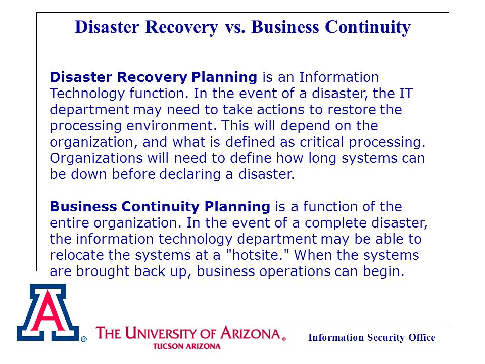 Information Security Office Disaster Recovery Planning is an Information Technology function.