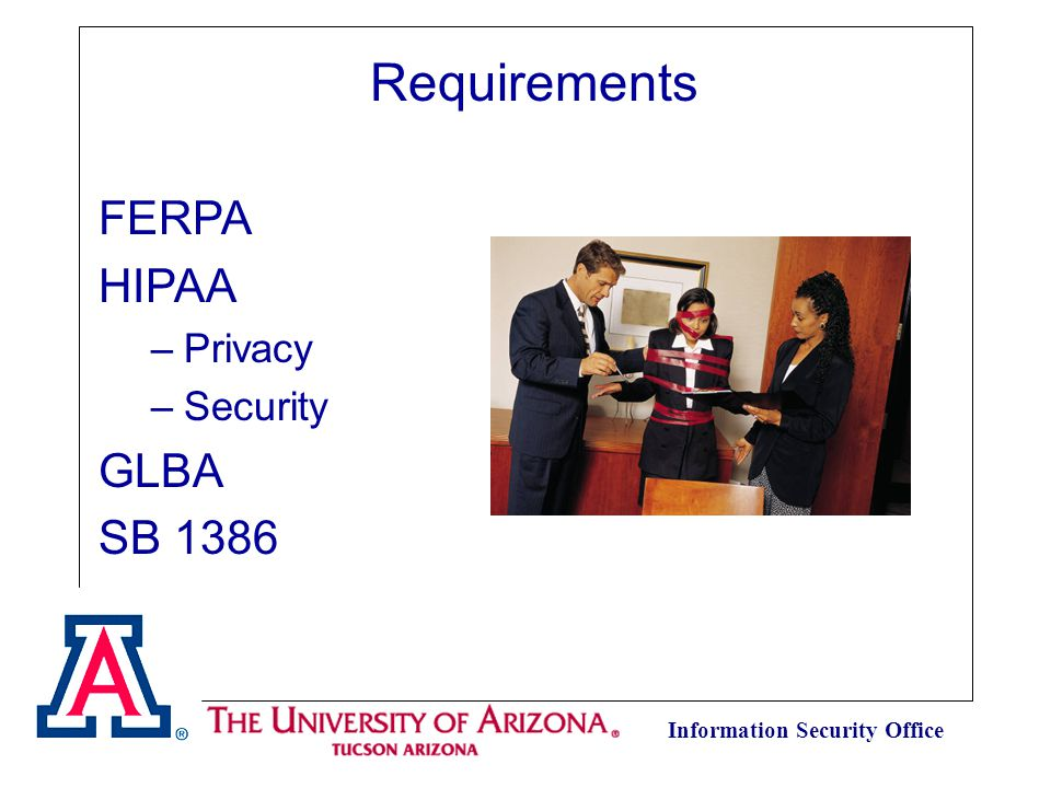 Information Security Office Requirements FERPA HIPAA –Privacy –Security GLBA SB 1386