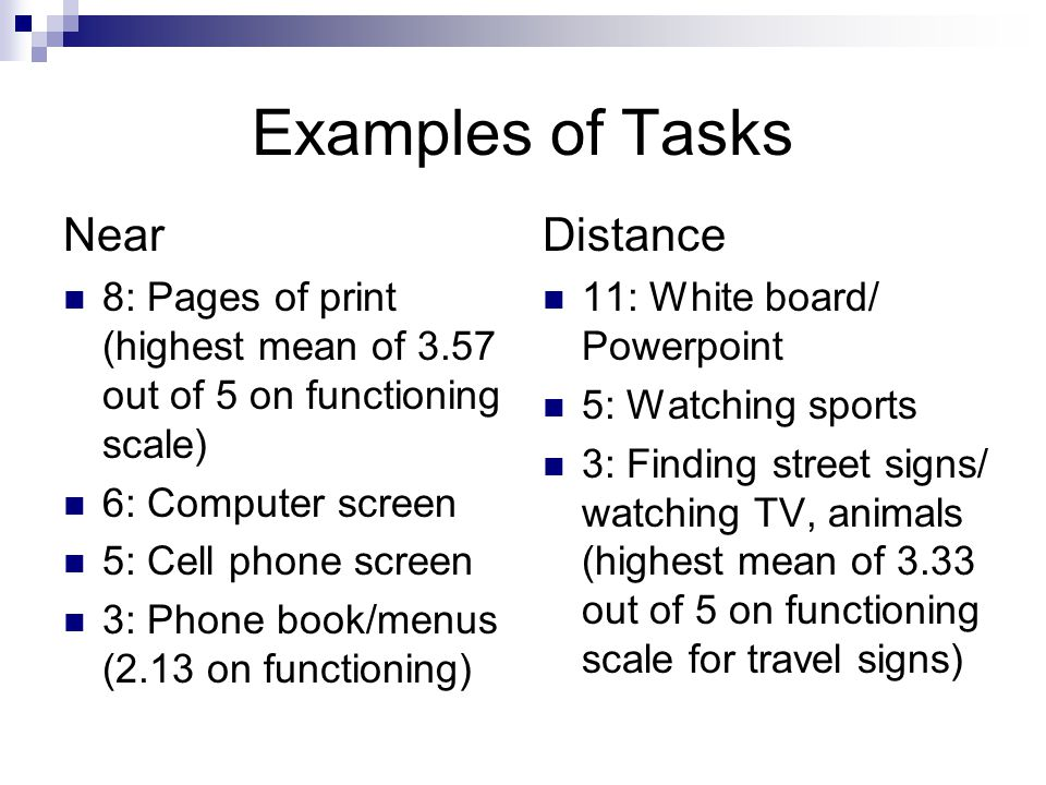 Examples of Tasks Near 8: Pages of print (highest mean of 3.57 out of 5 on functioning scale) 6: Computer screen 5: Cell phone screen 3: Phone book/menus (2.13 on functioning) Distance 11: White board/ Powerpoint 5: Watching sports 3: Finding street signs/ watching TV, animals (highest mean of 3.33 out of 5 on functioning scale for travel signs)