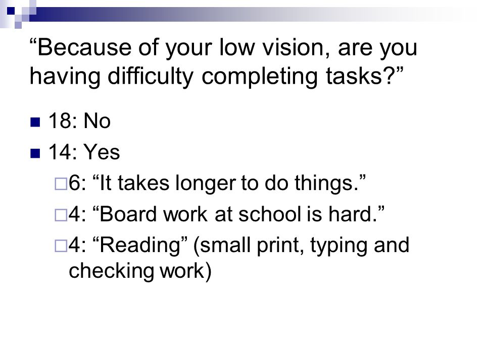Because of your low vision, are you having difficulty completing tasks 18: No 14: Yes  6: It takes longer to do things.  4: Board work at school is hard.  4: Reading (small print, typing and checking work)