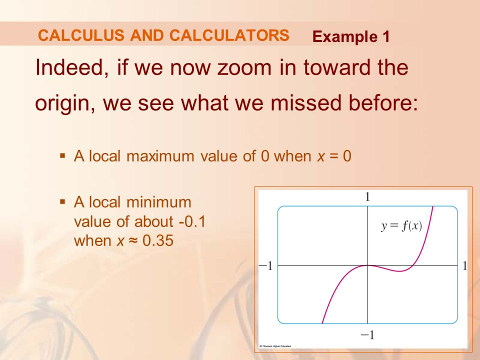 Indeed, if we now zoom in toward the origin, we see what we missed before:  A local maximum value of 0 when x = 0  A local minimum value of about -0