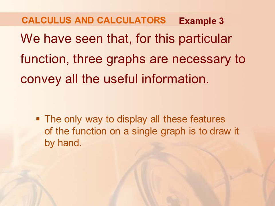 We have seen that, for this particular function, three graphs are necessary to convey all the useful information.  The only way to display all these
